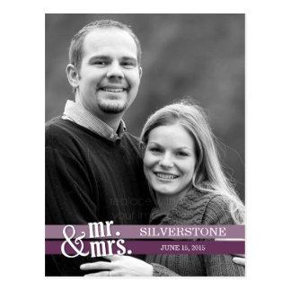 Mr. & Mrs. Wedding Thank You Card - Plum Postcard