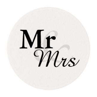 Mr&Mrs Wedding Edible Frosting Rounds