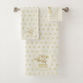 Mr & Mrs Wedding Towels Gold Love Hearts Keepsake