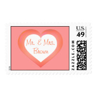 Mr. & Mrs. white and salmon fade heart thank you Postage
