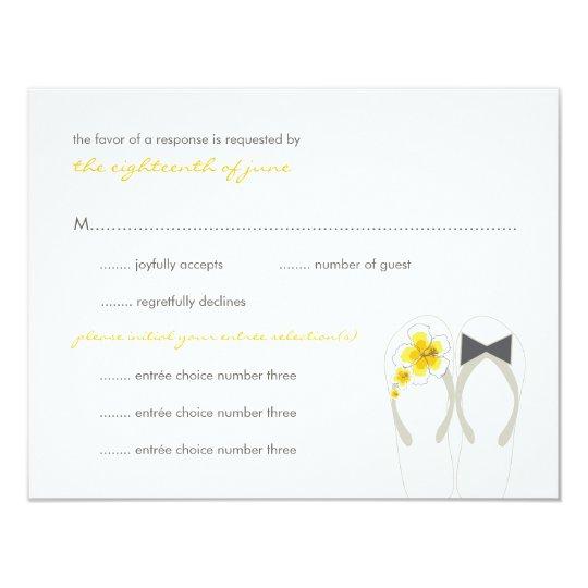 Mr & Mrs Yellow Flip Flops Beach Wedding RSVP Card
