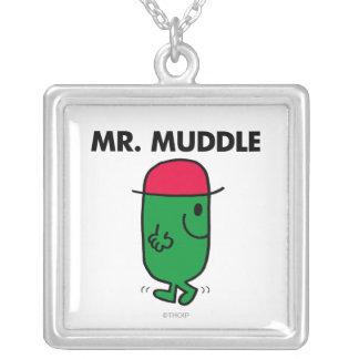 Mr. Muddle | Walking Backwards Square Pendant Necklace