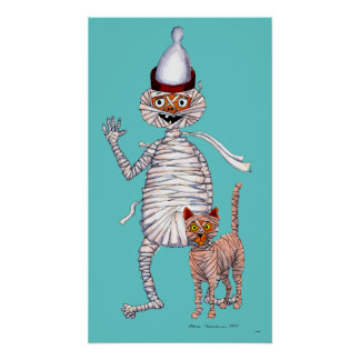 Mr Mummific and His Cat Poster