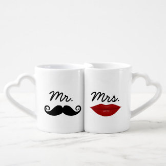 Mr. Mustache and Mrs. Lips with custom monogram Couples' Coffee Mug Set