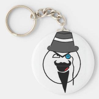 Mr. mustache basic round button keychain