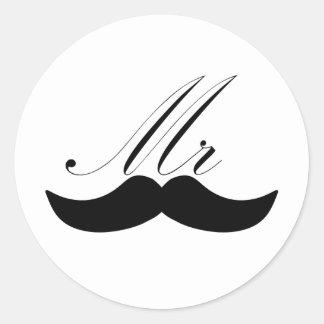 Mr Mustache Classic Round Sticker