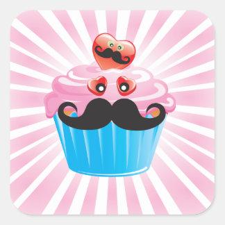 Mr. Mustache Cupcake Square Sticker