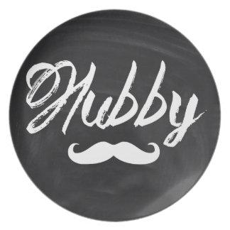 Mr Mustache Groom Honeymoon hubby Melamine Plate