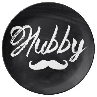 Mr Mustache Groom Honeymoon hubby Porcelain Plate