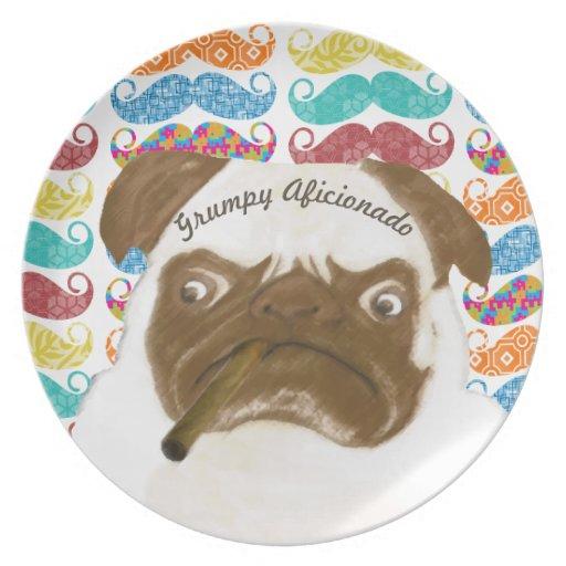 Mr. Mustache Hipster Grumpy AFICIONADO Puggy Cigar Dinner Plate