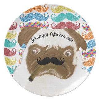 Mr. Mustache Hipster Grumpy AFICIONADO Puggy Cigar Melamine Plate
