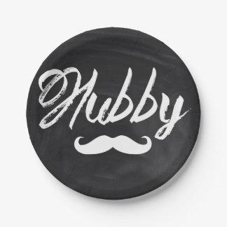 Mr Mustache newlywed Groom Honeymoon hubby Paper Plate