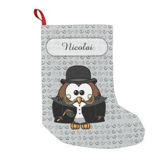 Mr. Mustache Owl Small Christmas Stocking