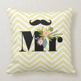 Mr Mustache Pale Yellow White Teal Zig Zag Throw Pillow