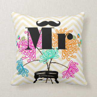 Mr Mustache Pale Yellow Zig Zag Mason Jar Throw Pillow
