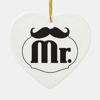 Mr. Mustache Retro Vintage Hipster Ceramic Ornament