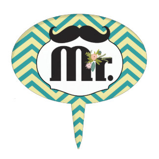 Mr. Mustache Yellow and Green Cake Topper