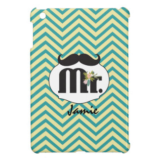 Mr. Mustache Yellow and Green Case For The iPad Mini