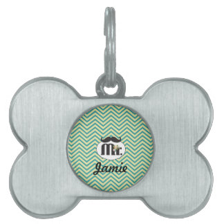 Mr. Mustache Yellow and Green Pet ID Tag