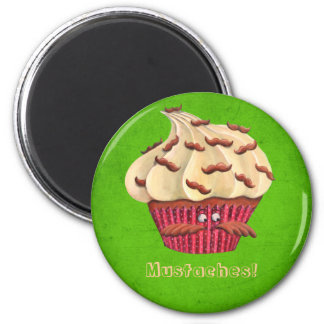 Mr Mustached Cupcake 2 Inch Round Magnet