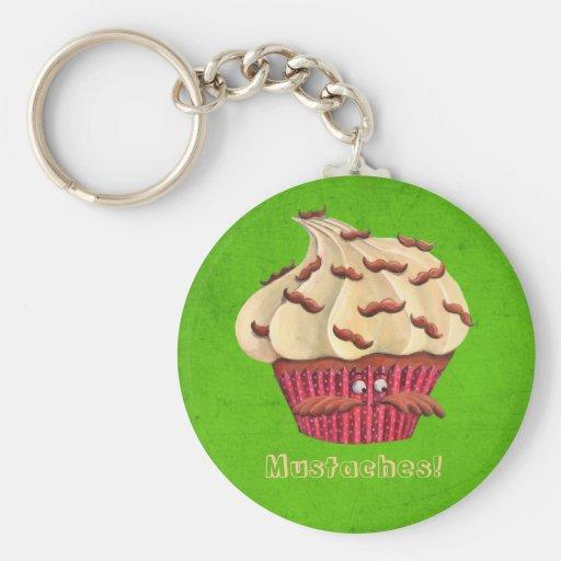 Mr Mustached Cupcake Basic Round Button Keychain