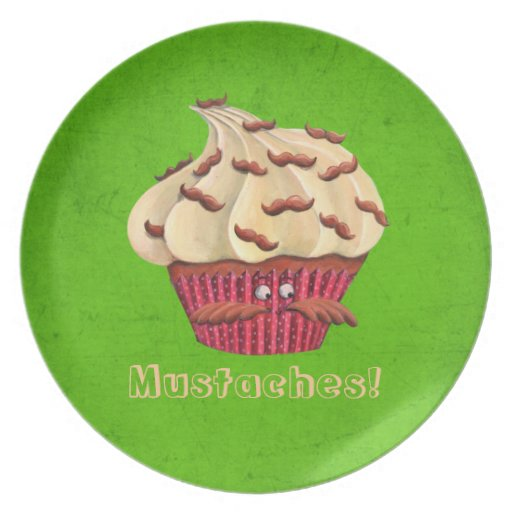 Mr Mustached Cupcake Plate