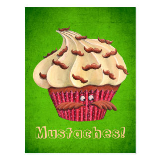 Mr Mustached Cupcake Postcard