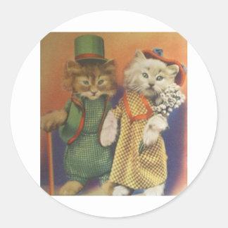 mr n mrs cat round sticker