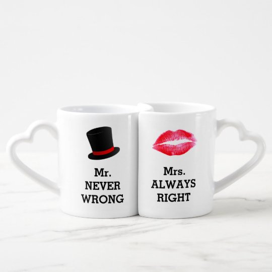 mr never wrong mrs always right funny couple coffee mug set