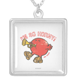 Mr. Noisy Tooting His Horn Square Pendant Necklace