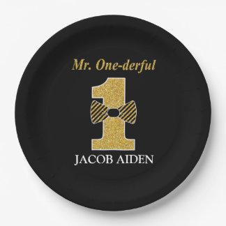 "Mr. One-derful Custom Paper Plates 9"""