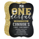 Mr Onederful 1st Birthday Invitation Chalkboard