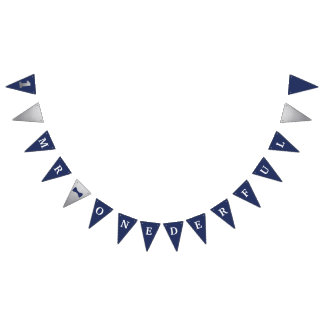 Mr Onederful Banner Navy & Silver with 1