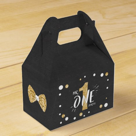 Mr Onederful Birthday Favor Box Bow Tie Black Gold