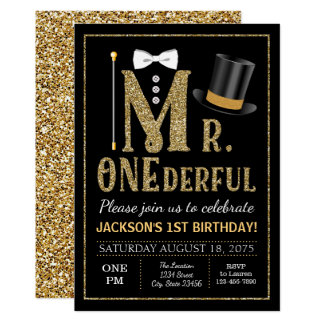 Mr ONEderful Birthday Invitation