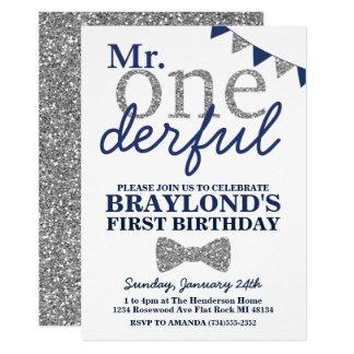 Mr Onederful Birthday Invitation, Blue & Silver Card