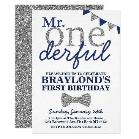 Mr Onederful Birthday Invitation, Blue & Silver Invitation