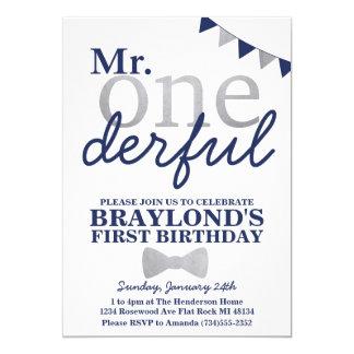 Mr Onederful Birthday Invitation (navy & silver)