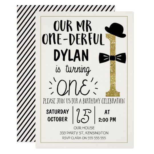 Mr Onederful Birthday Invitation With Faux Gold Zazzle Com