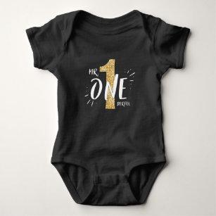 Mr Onederful Birthday Shirt Romper Boy Black Gold 4b2a1a662