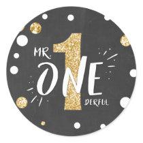 Mr Onederful Birthday Sticker Boy Black Gold