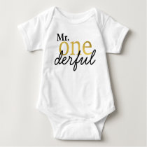 Mr Onederful Black and Faux Gold Baby Shirt