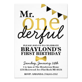 Mr Onederful Black and Gold Birthday Invitation