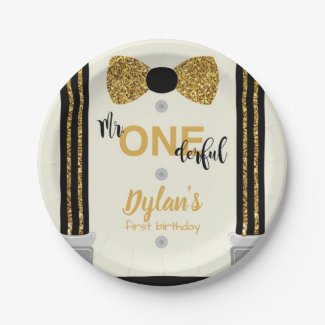 Mr Onederful black and gold bow tie Paper Plate