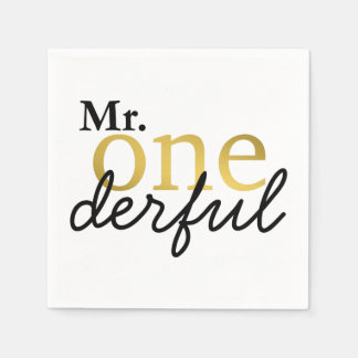 Mr Onederful Black and Gold Party Napkins