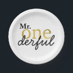 "Mr Onederful Black and Gold Party Plates<br><div class=""desc"">Your little guy is turning one and these plates are perfect to celebrate!</div>"