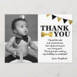 "Mr Onederful Black and Gold Thank You Card<br><div class=""desc"">This Mr Onederful Blaxk and Gold Thank You Card matches our black and faux gold foil Mr Onederful Birthday Theme.</div>"
