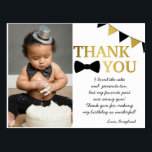 "Mr Onederful Black and Gold Thank You Postcard<br><div class=""desc"">This thank you postcard matches our black and gold Mr Onederful Birthday Theme.</div>"