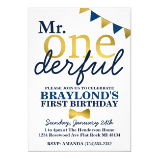 Mr Onederful Blue & Gold 1st Birthday Invitation