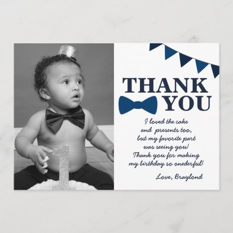 Mr Onederful Blue Thank You Card